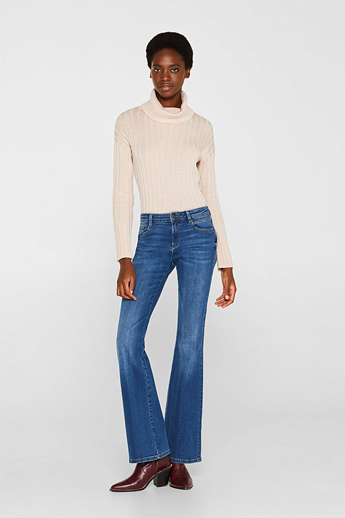 Washed-look stretch jeans
