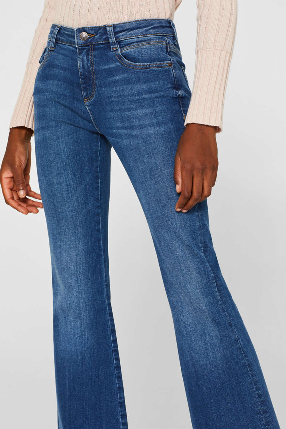 Washed-look stretch jeans, BLUE MEDIUM WASH, detail image number 2