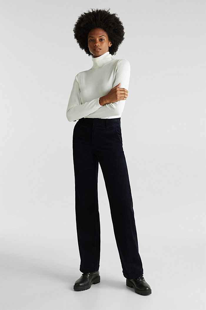 Stretch corduroy trousers with a wide leg, NAVY, detail image number 0