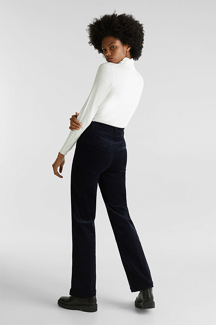 Stretch corduroy trousers with a wide leg, NAVY, detail image number 3
