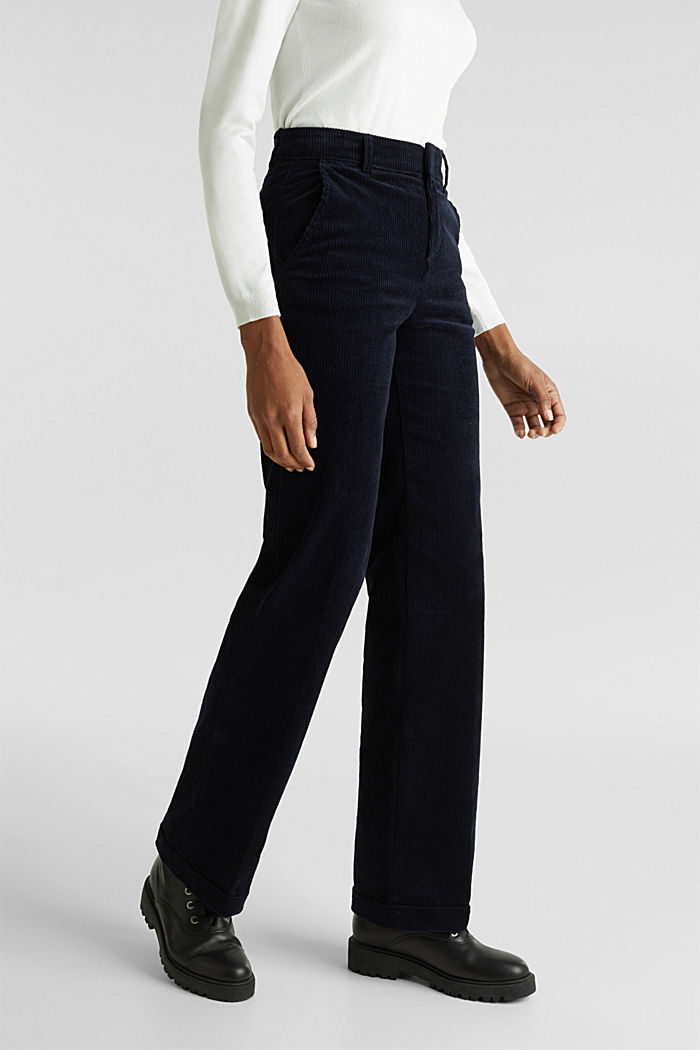 Stretch corduroy trousers with a wide leg, NAVY, detail image number 6