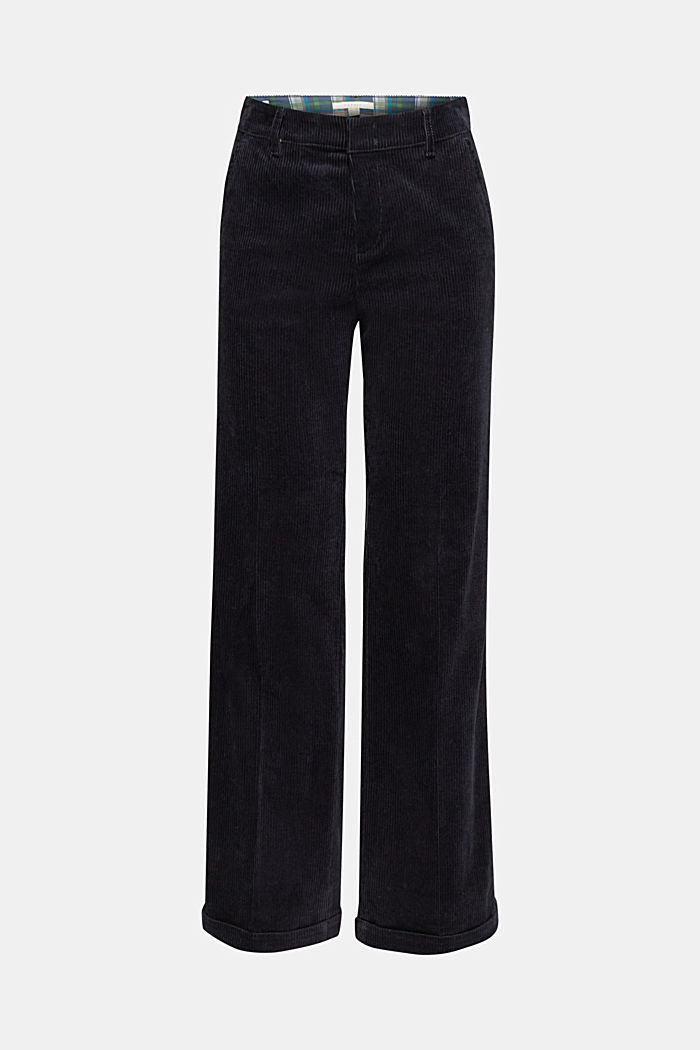 Stretch corduroy trousers with a wide leg, NAVY, detail image number 7