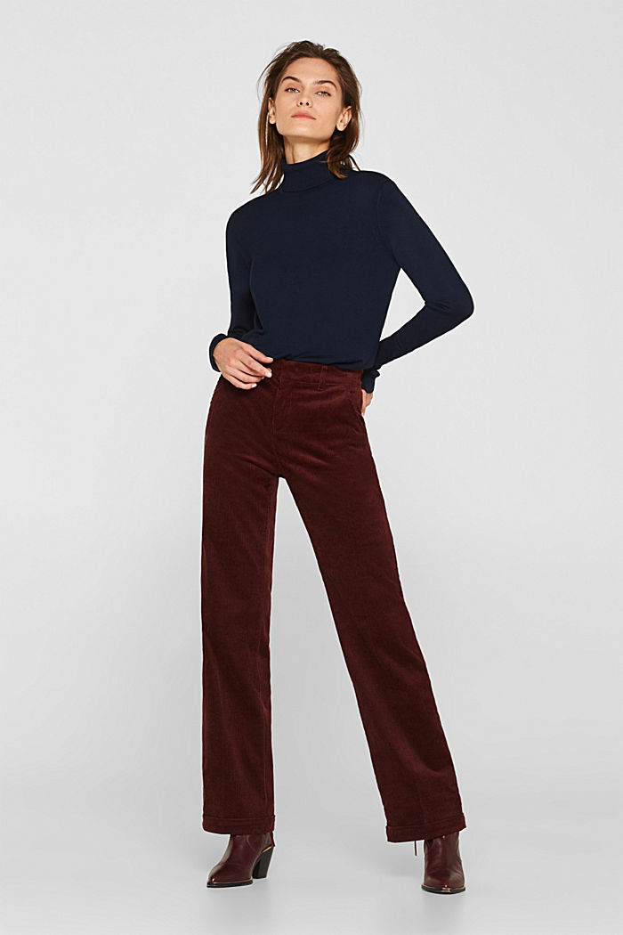 Stretch corduroy trousers with a wide leg, BORDEAUX RED, detail image number 0