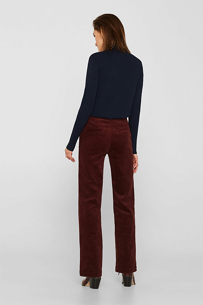Stretch corduroy trousers with a wide leg, BORDEAUX RED, detail image number 3
