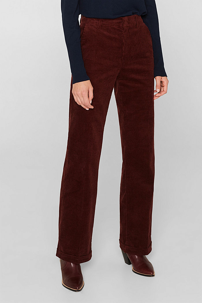 Stretch corduroy trousers with a wide leg, BORDEAUX RED, detail image number 6