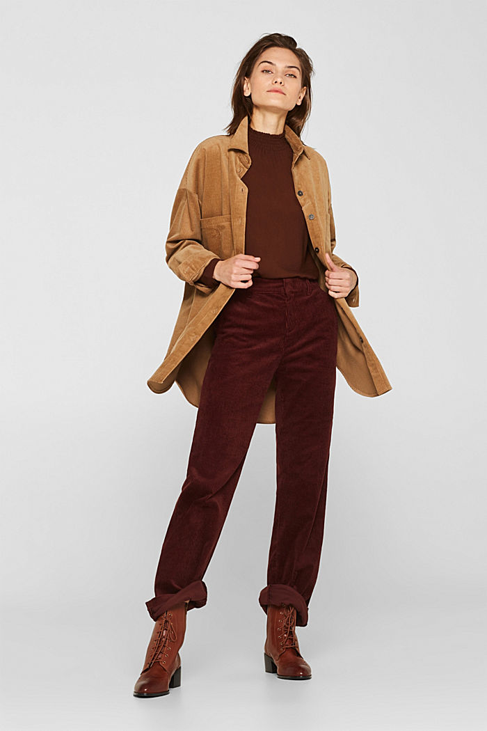 Stretch corduroy trousers with a wide leg, BORDEAUX RED, detail image number 1