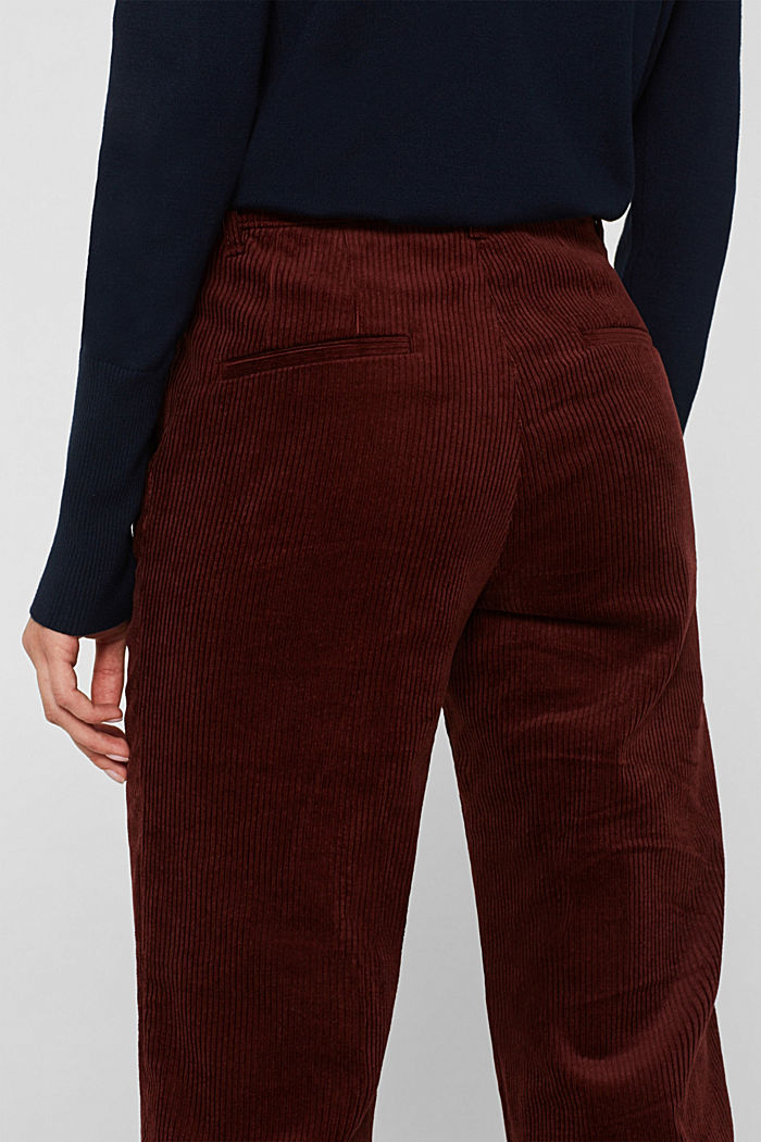 Stretch corduroy trousers with a wide leg, BORDEAUX RED, detail image number 5