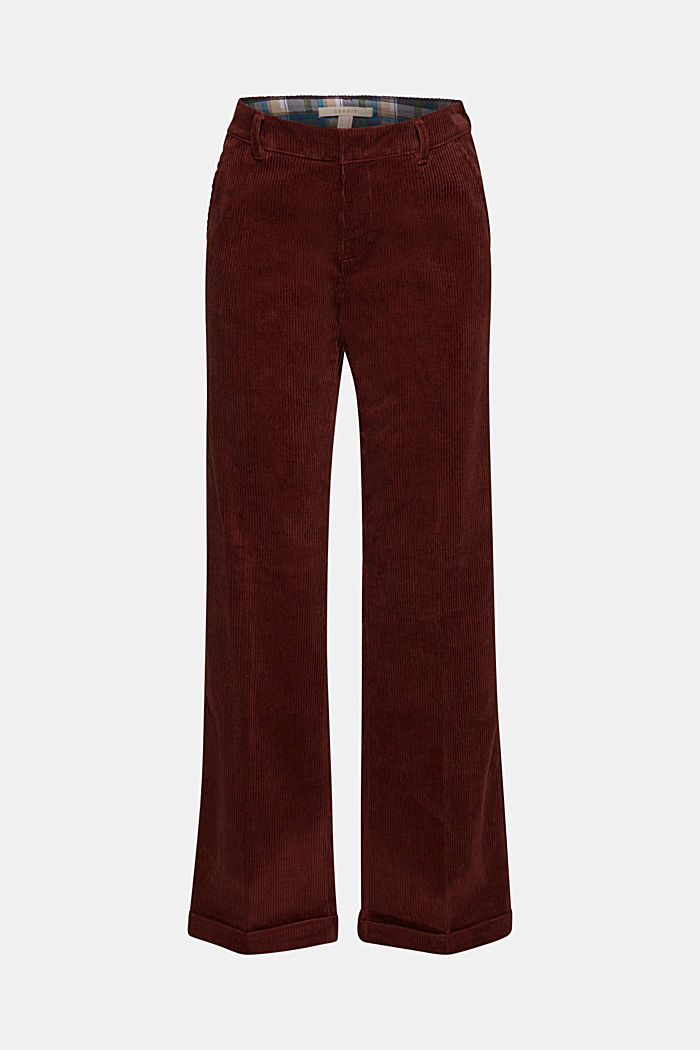 Stretch corduroy trousers with a wide leg, BORDEAUX RED, detail image number 7