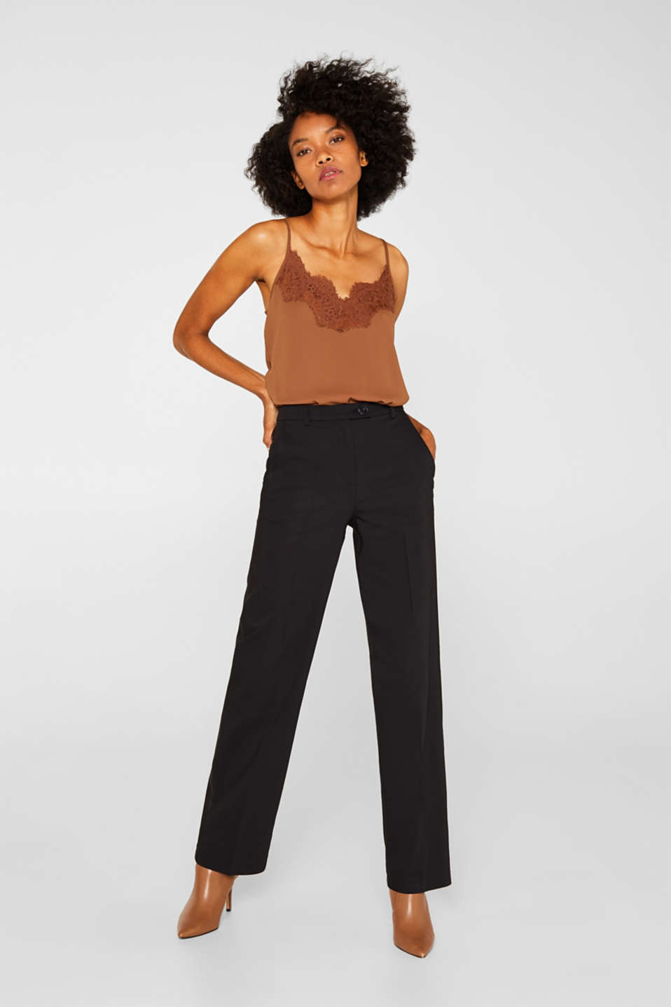 Esprit - Stretch trousers with a straight leg