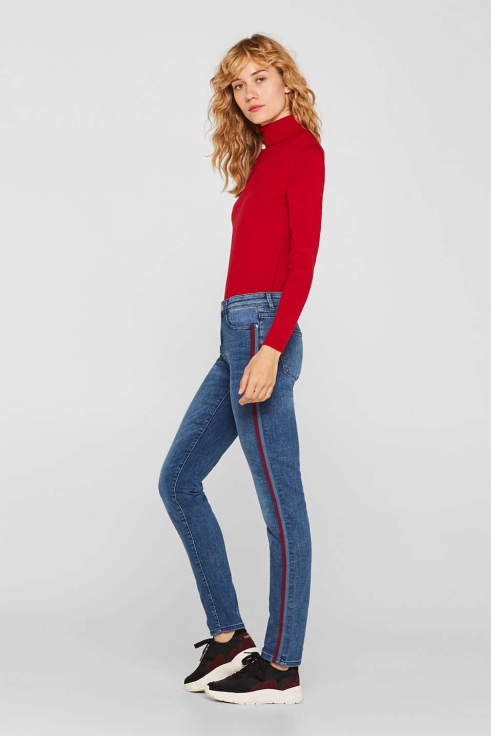 Stretch jeans with woven tape stripes, BLUE MEDIUM WASH, detail image number 0