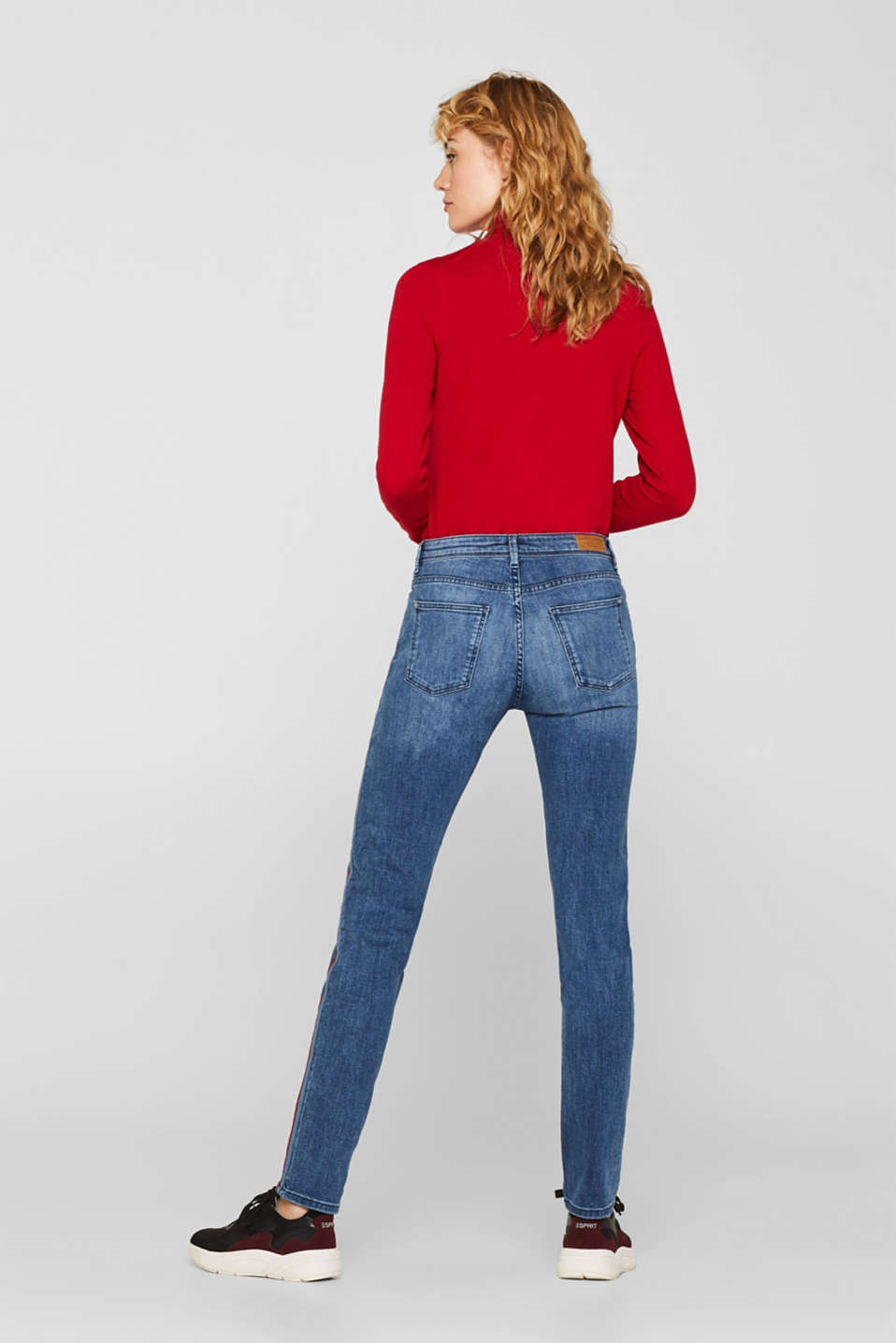 Stretch jeans with woven tape stripes, BLUE MEDIUM WASH, detail image number 3