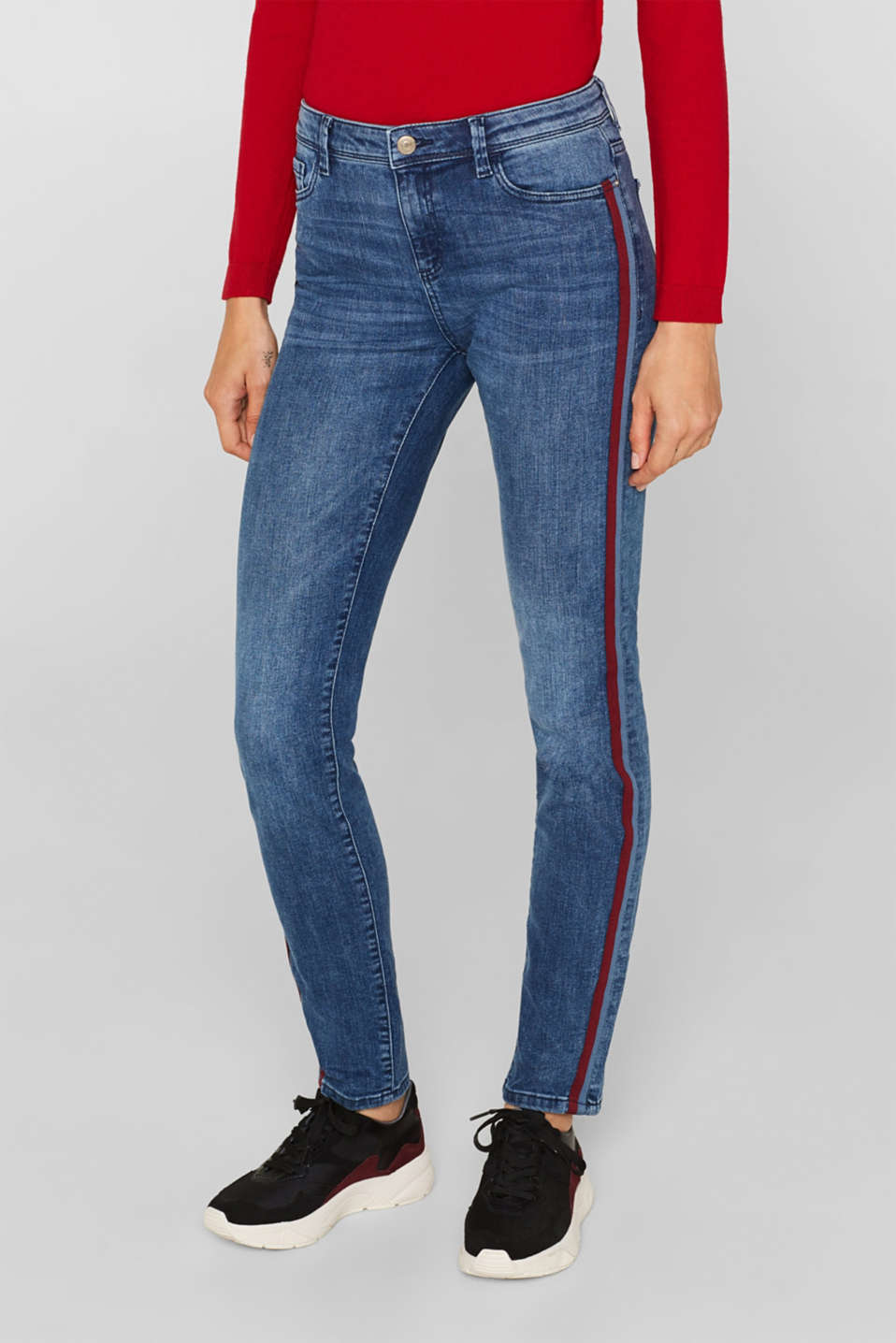 Stretch jeans with woven tape stripes, BLUE MEDIUM WASH, detail image number 6