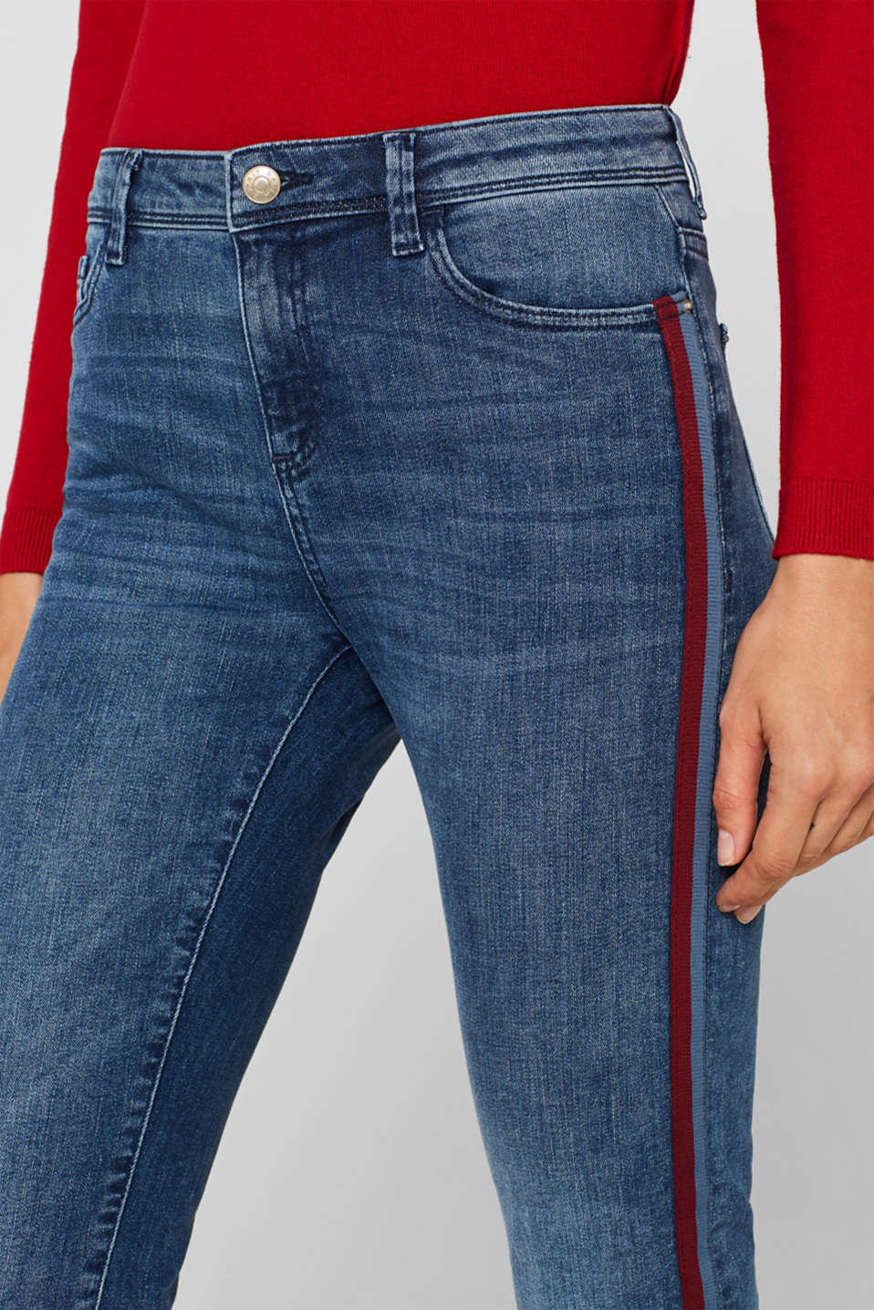 Stretch jeans with woven tape stripes, BLUE MEDIUM WASH, detail image number 2