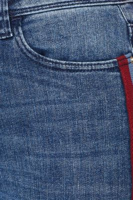 Stretch jeans with woven tape stripes, BLUE MEDIUM WASH, detail