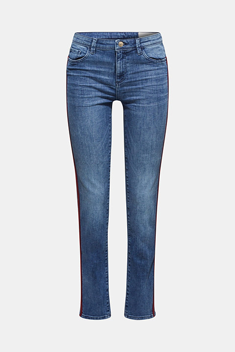 Stretch jeans with woven tape stripes