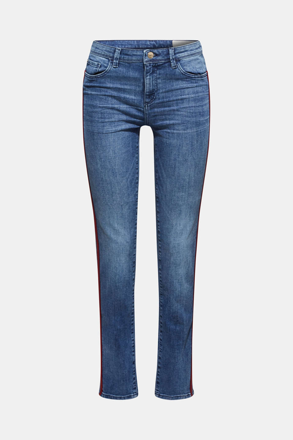 Stretch jeans with woven tape stripes, BLUE MEDIUM WASH, detail image number 7