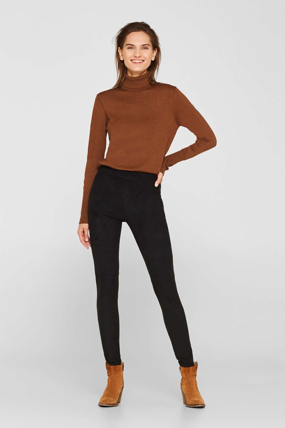 Stretch faux suede treggings