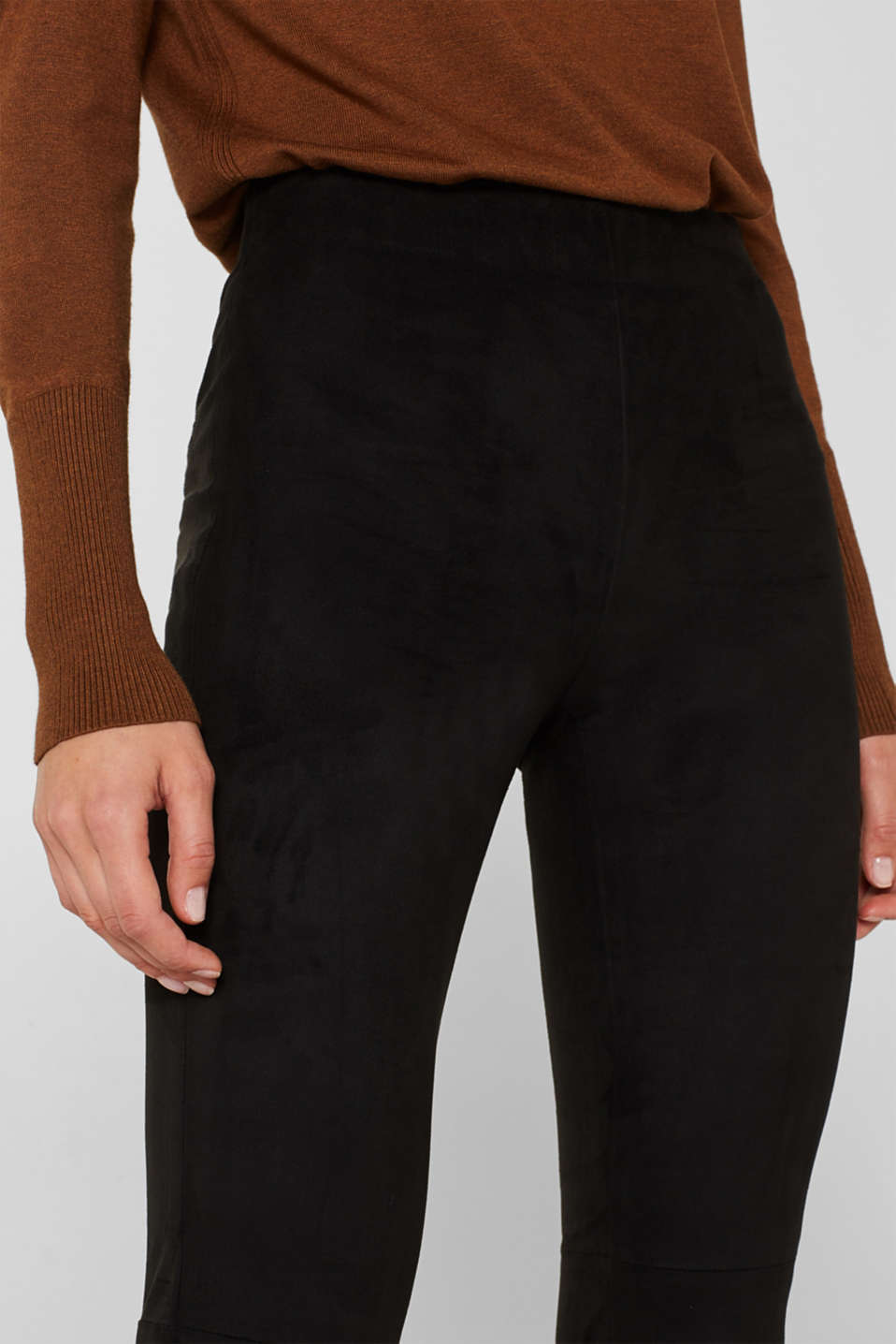 Stretch faux suede treggings, BLACK, detail image number 2