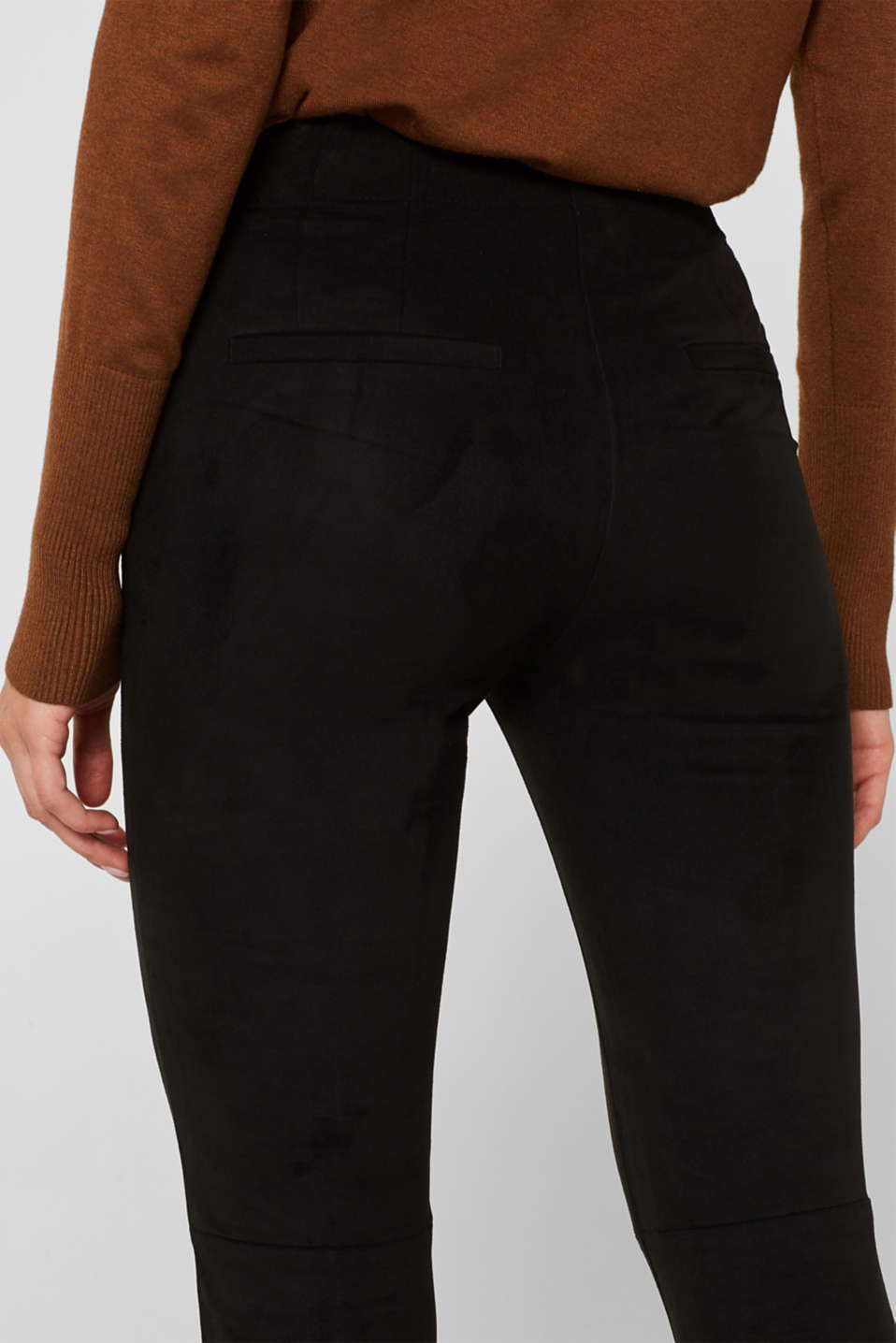 Stretch faux suede treggings, BLACK, detail image number 5
