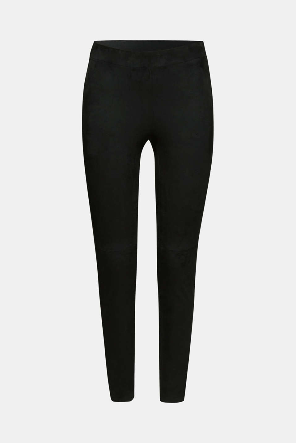 Stretch faux suede treggings, BLACK, detail image number 7