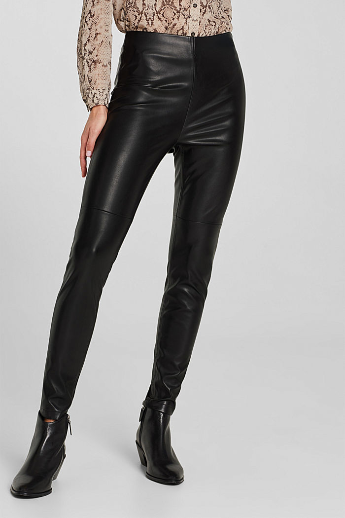 Faux leather treggings, BLACK, detail image number 0