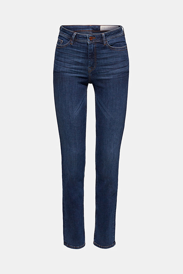 Soft stretch jeans with a thermal inner surface, BLUE DARK WASHED, detail image number 7