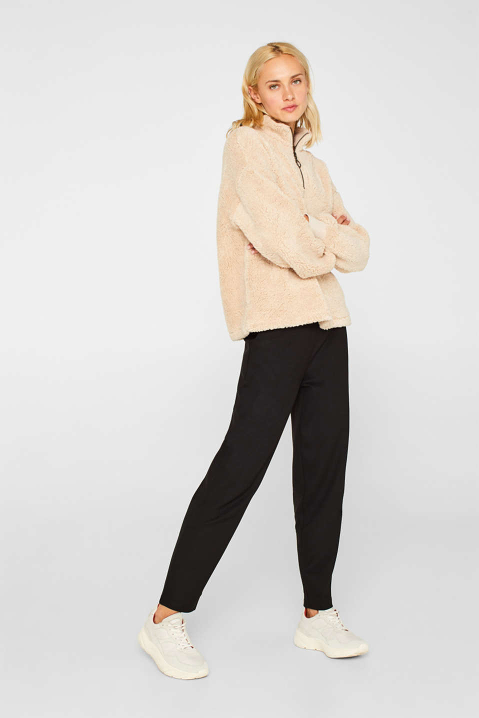 Trousers in compact stretch jersey, BLACK, detail image number 0
