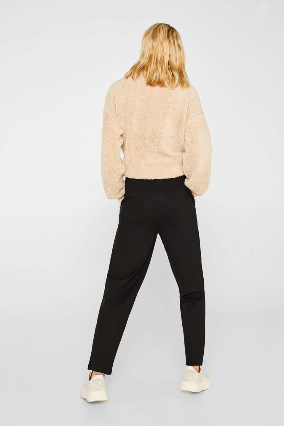Trousers in compact stretch jersey, BLACK, detail image number 3