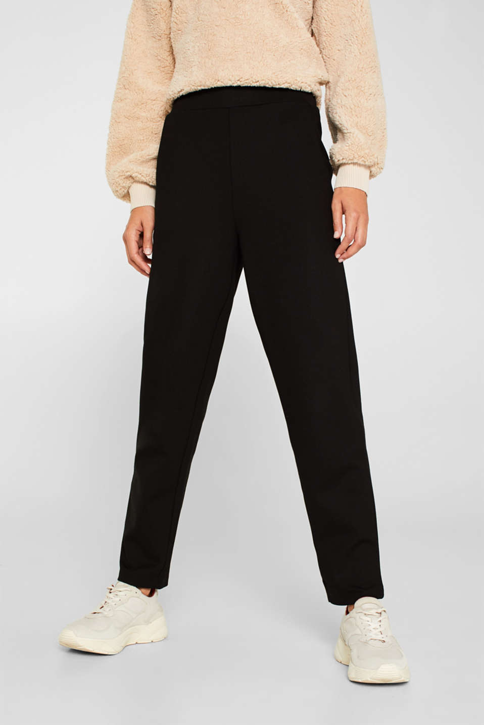 Trousers in compact stretch jersey, BLACK, detail image number 5