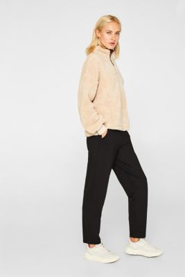 Trousers in compact stretch jersey, BLACK, detail
