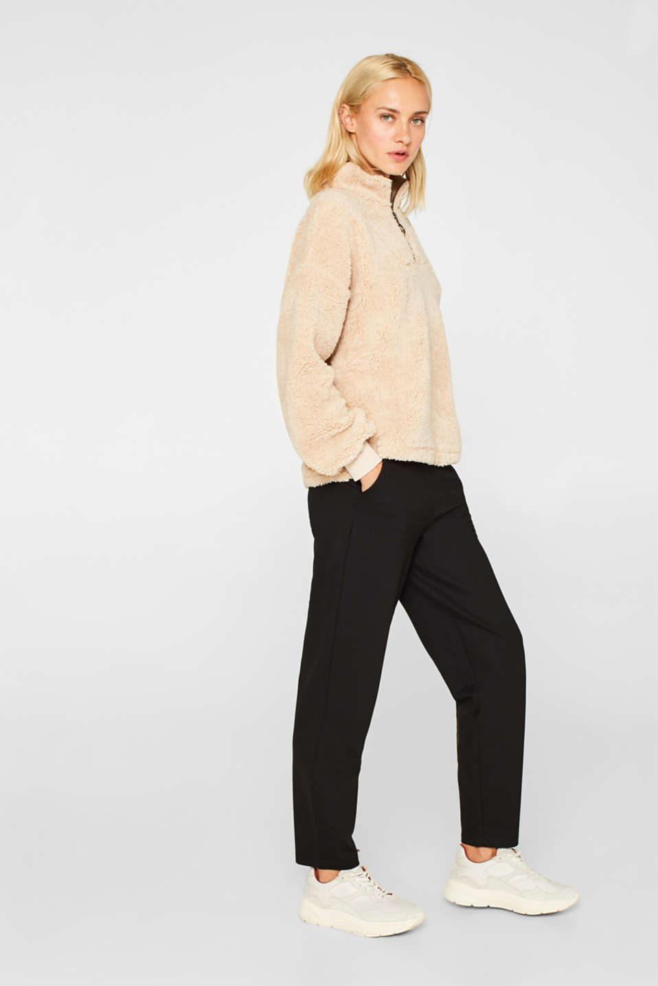 Trousers in compact stretch jersey, BLACK, detail image number 1