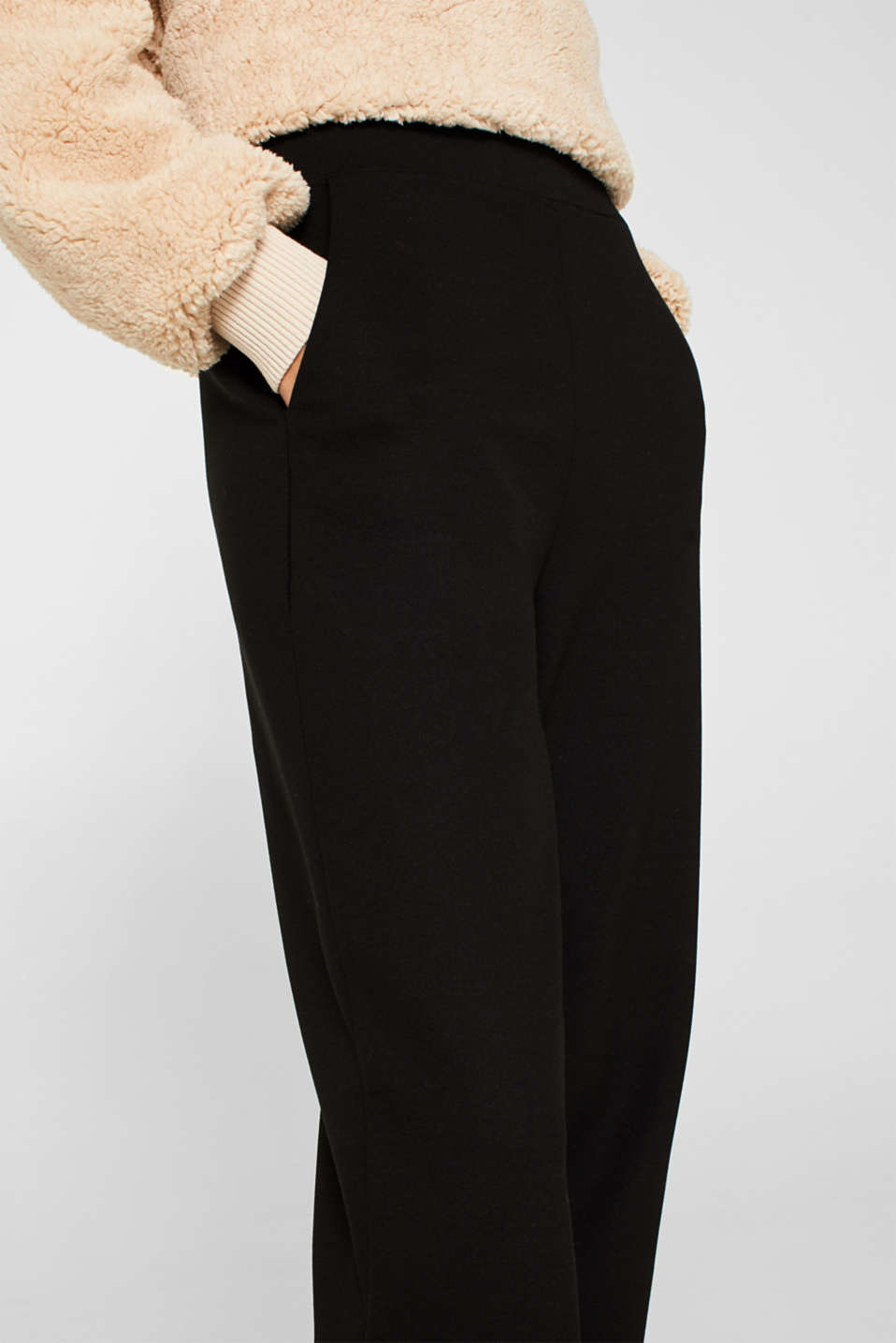 Trousers in compact stretch jersey, BLACK, detail image number 2