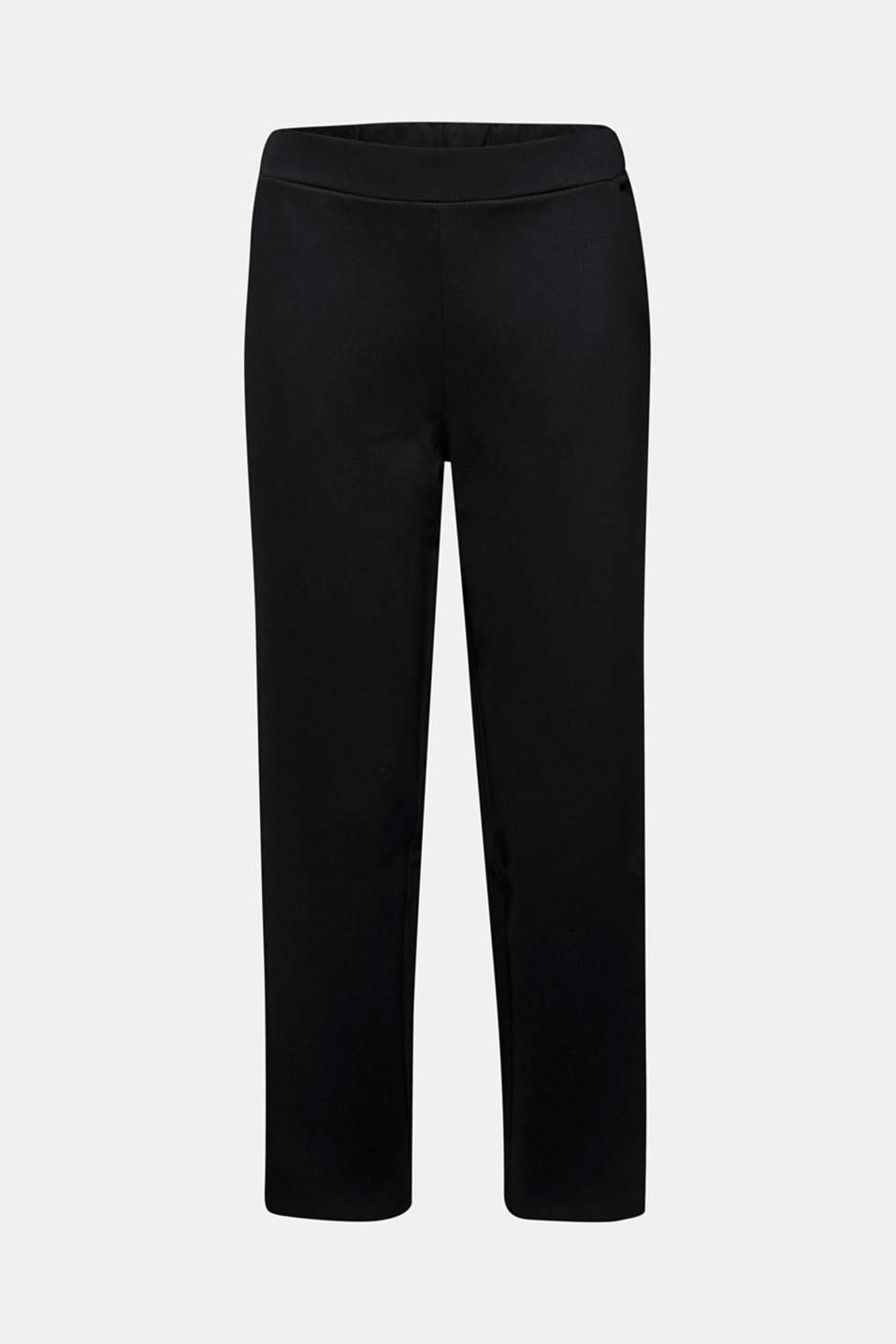 Trousers in compact stretch jersey, BLACK, detail image number 6