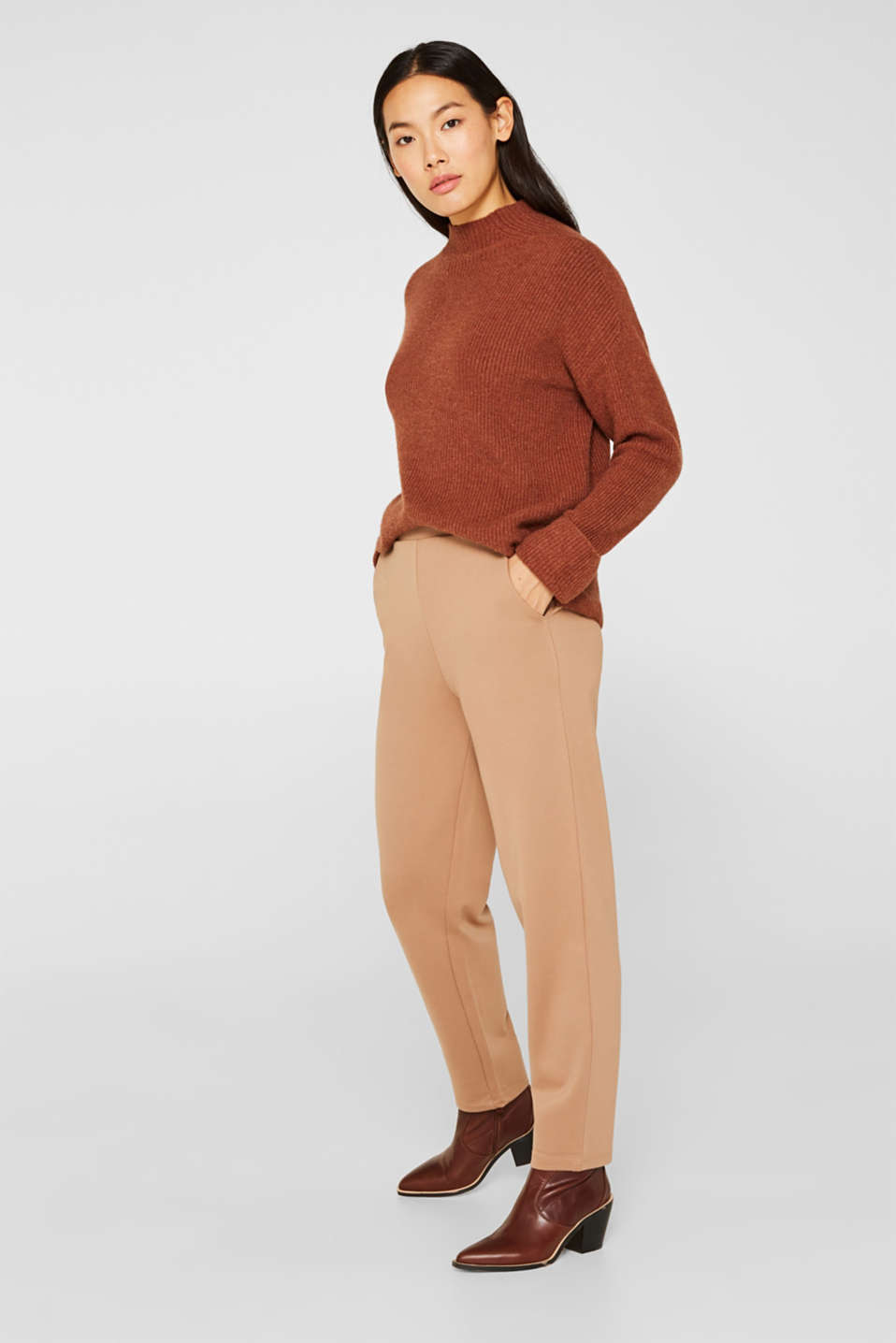 Esprit - Trousers in compact stretch jersey