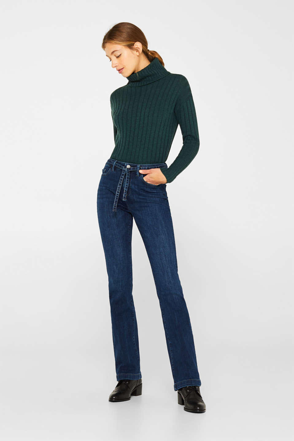 Esprit - Stretch jeans with a tie-around belt