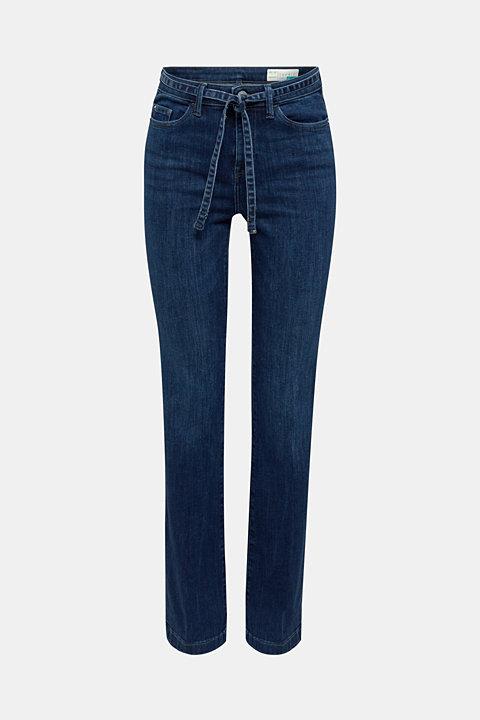 Stretch jeans with a tie-around belt