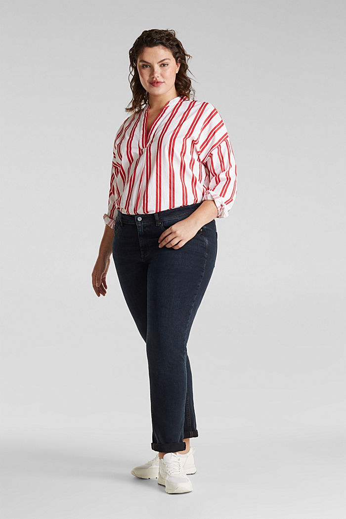 CURVY jeans with piped pockets, BLUE DARK WASHED, detail image number 0