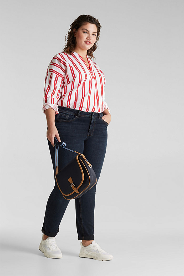 CURVY jeans with piped pockets, BLUE DARK WASHED, detail image number 1