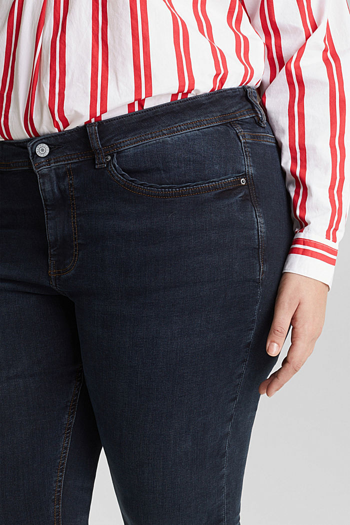CURVY jeans with piped pockets, BLUE DARK WASHED, detail image number 2