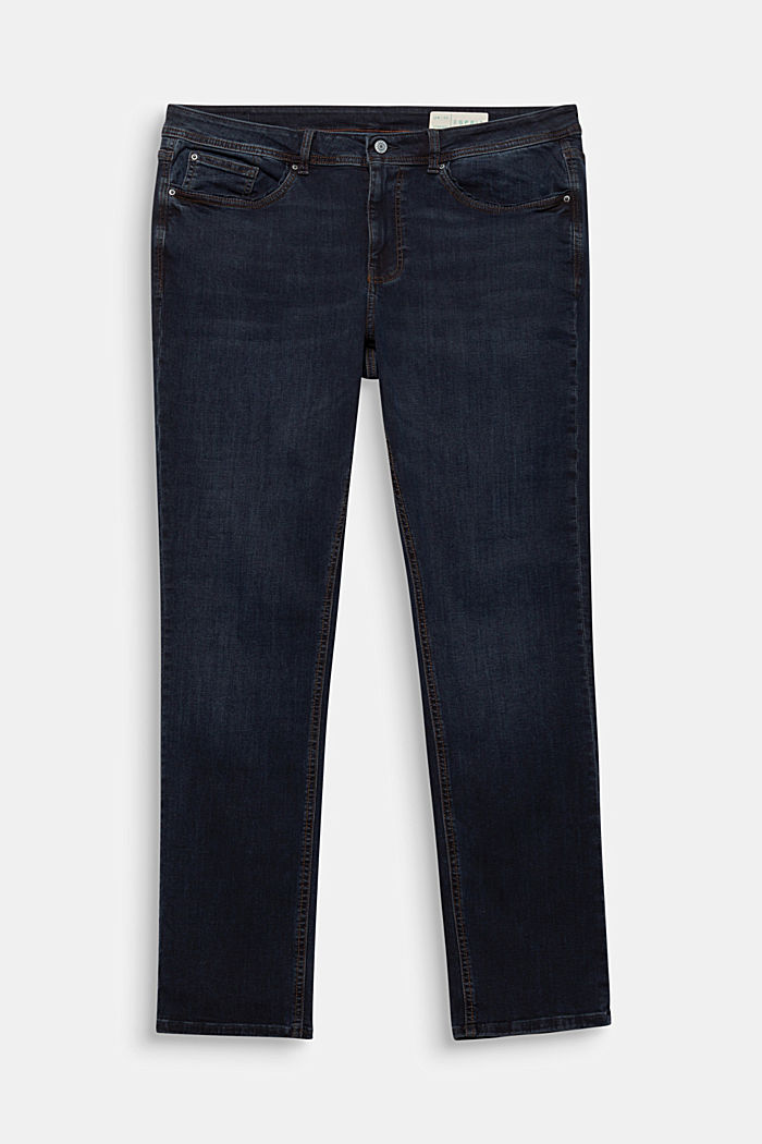 CURVY jeans with piped pockets, BLUE DARK WASHED, detail image number 6