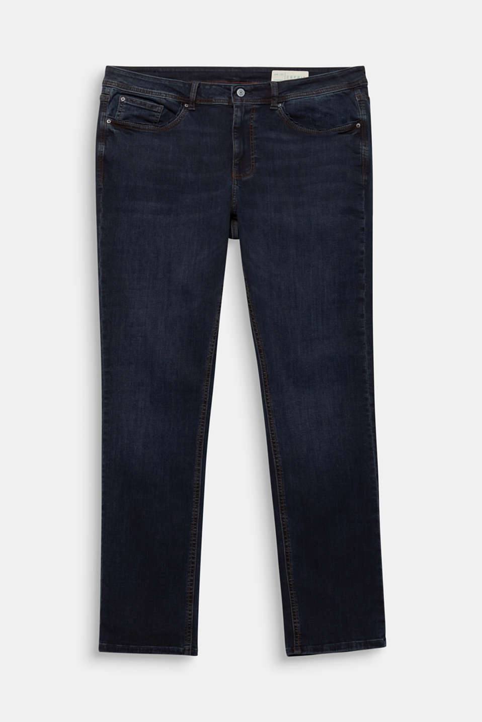 CURVY jeans with piped pockets, BLUE DARK WASH, detail image number 6