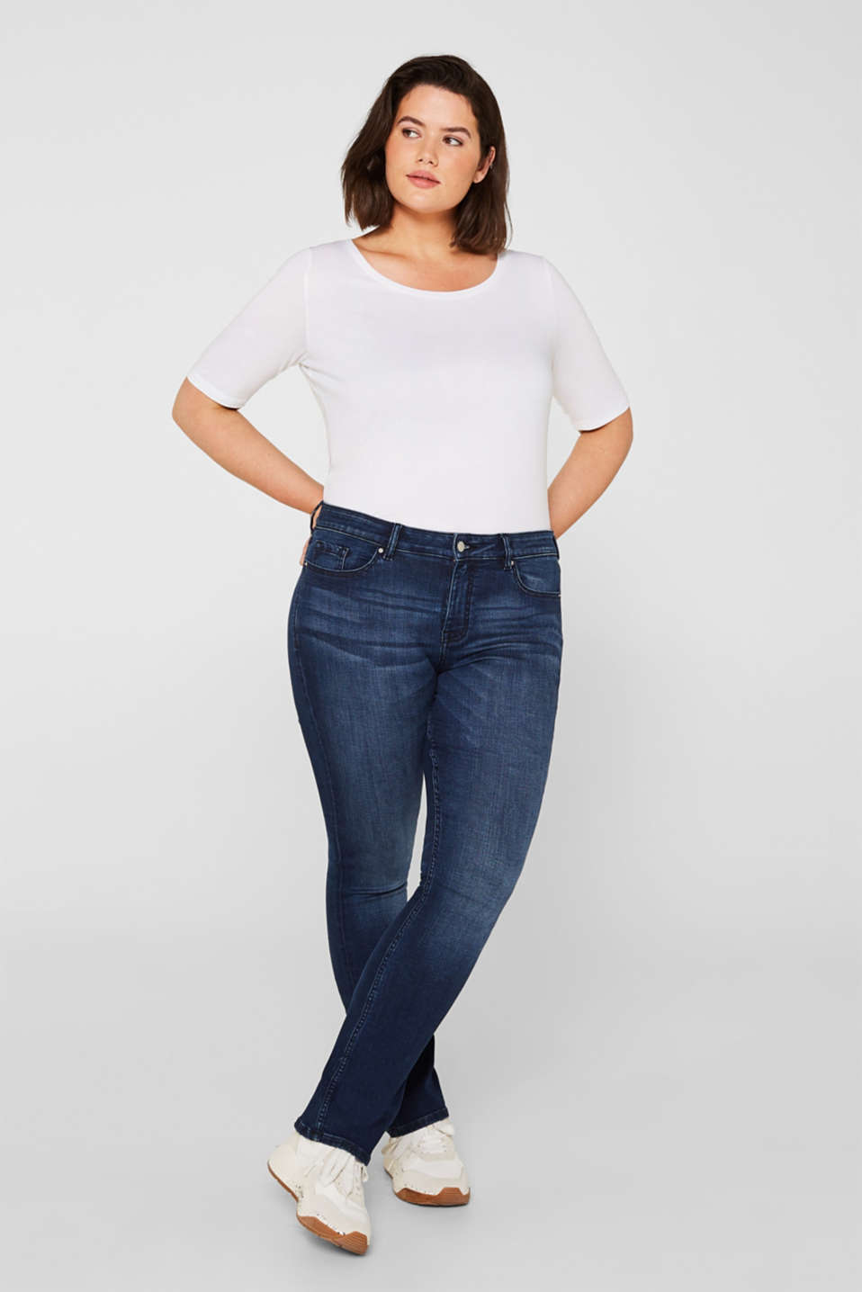 Esprit - CURVY super stretch jeans with whiskering
