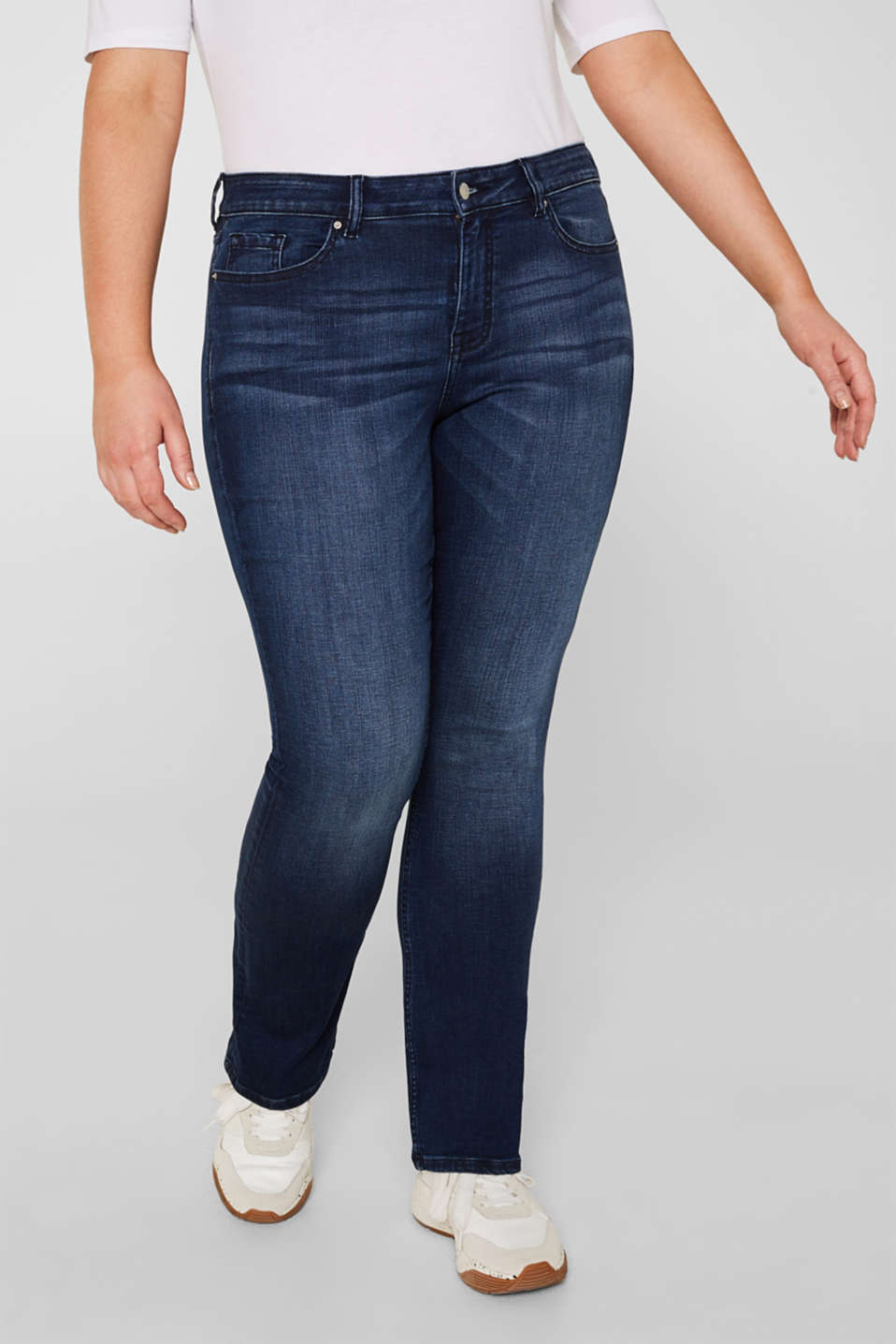 CURVY super stretch jeans, BLUE DARK WASH, detail image number 5