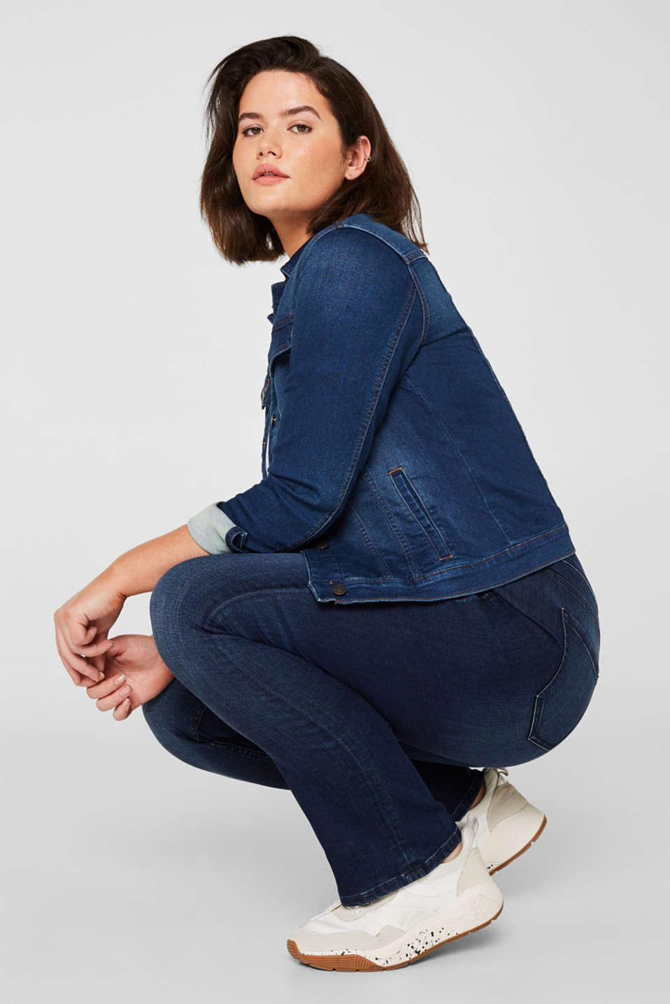 CURVY super stretch jeans, BLUE DARK WASH, detail image number 1