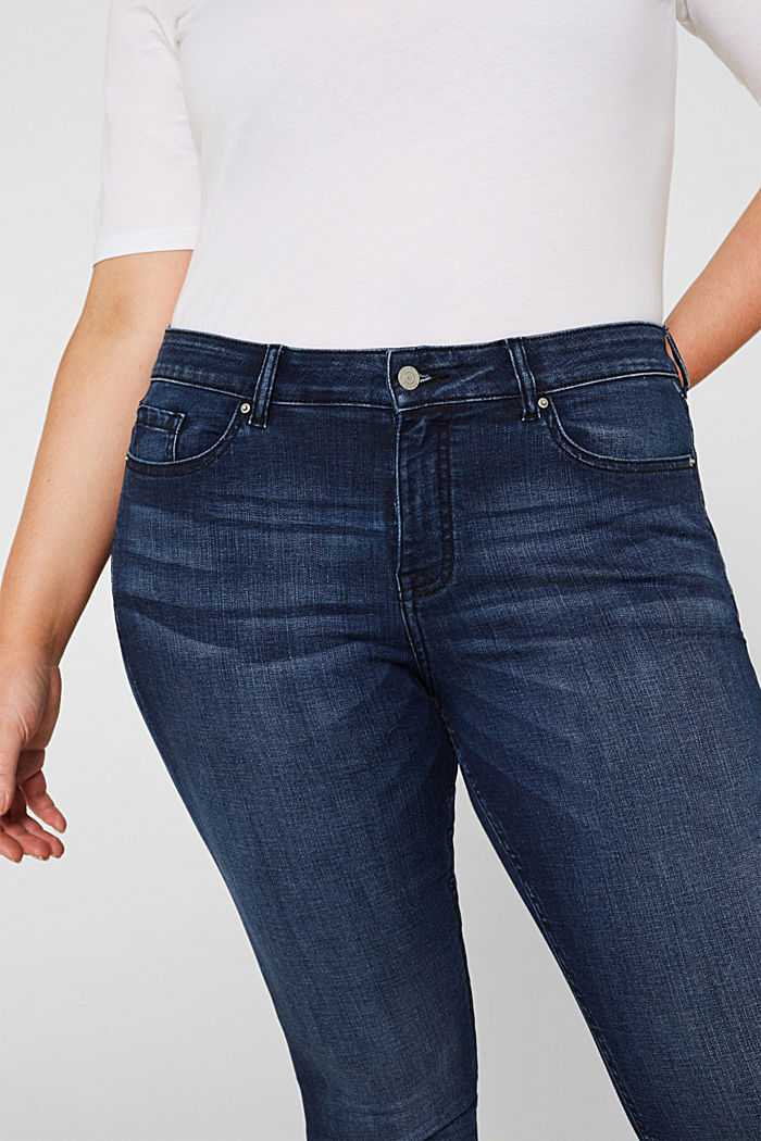 CURVY super stretch jeans, BLUE DARK WASHED, detail image number 2