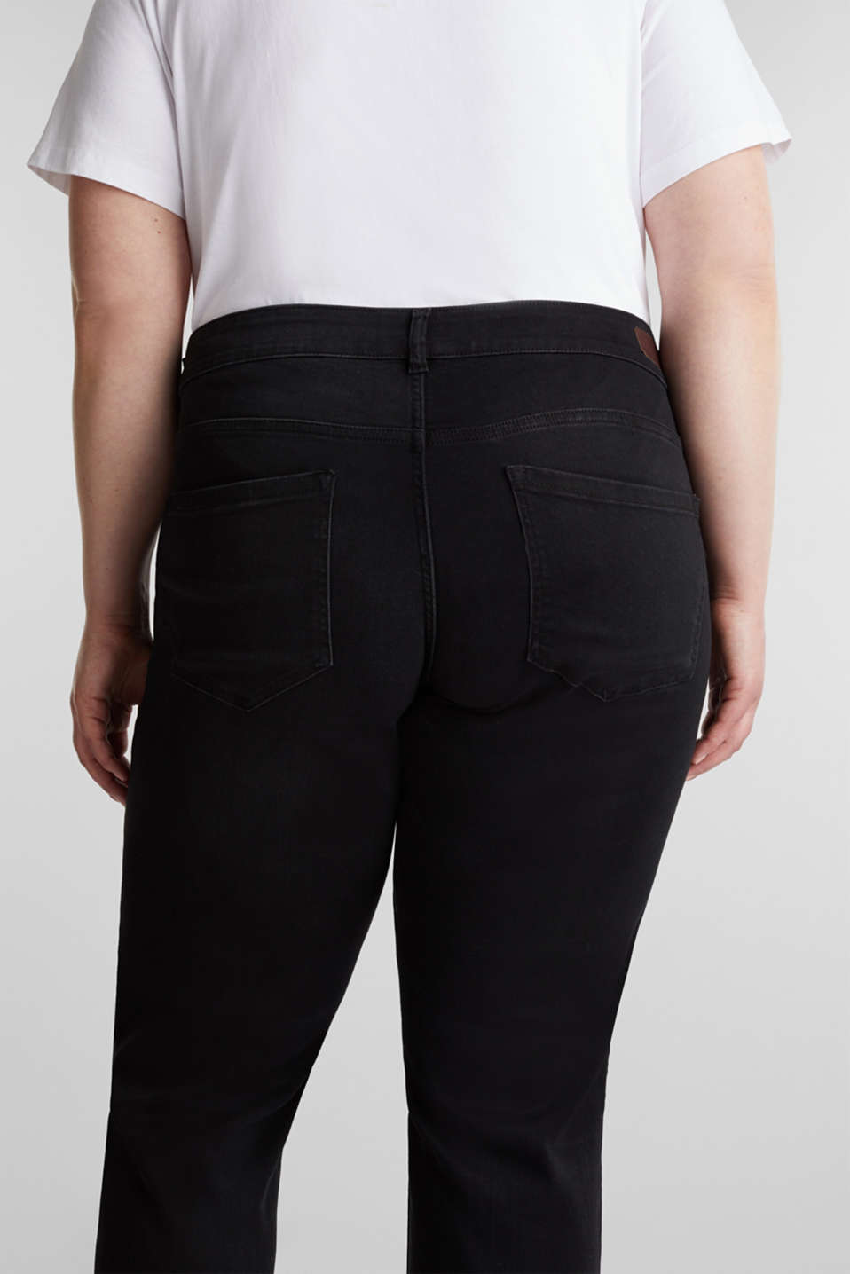 CURVY stretch jeans in a dark wash, BLACK DARK WASH, detail image number 2