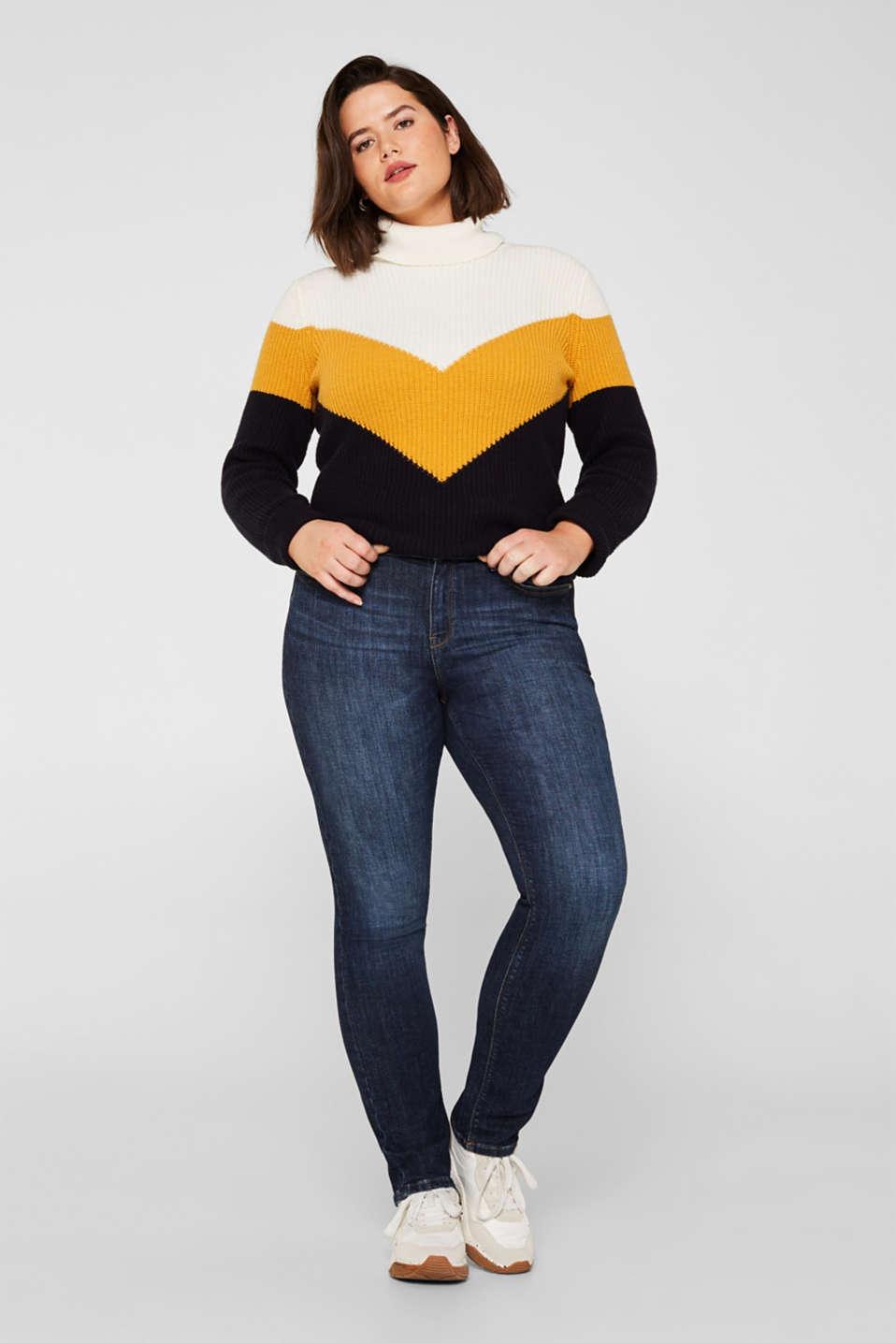 CURVY basic stretch jeans, BLUE DARK WASH, detail image number 0