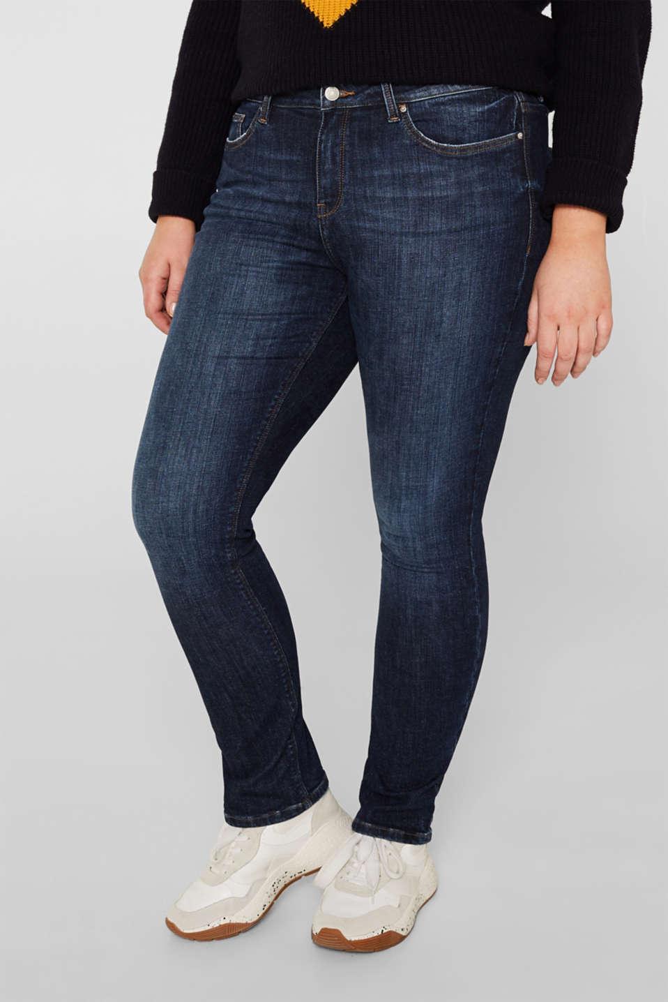 CURVY basic stretch jeans, BLUE DARK WASH, detail image number 6