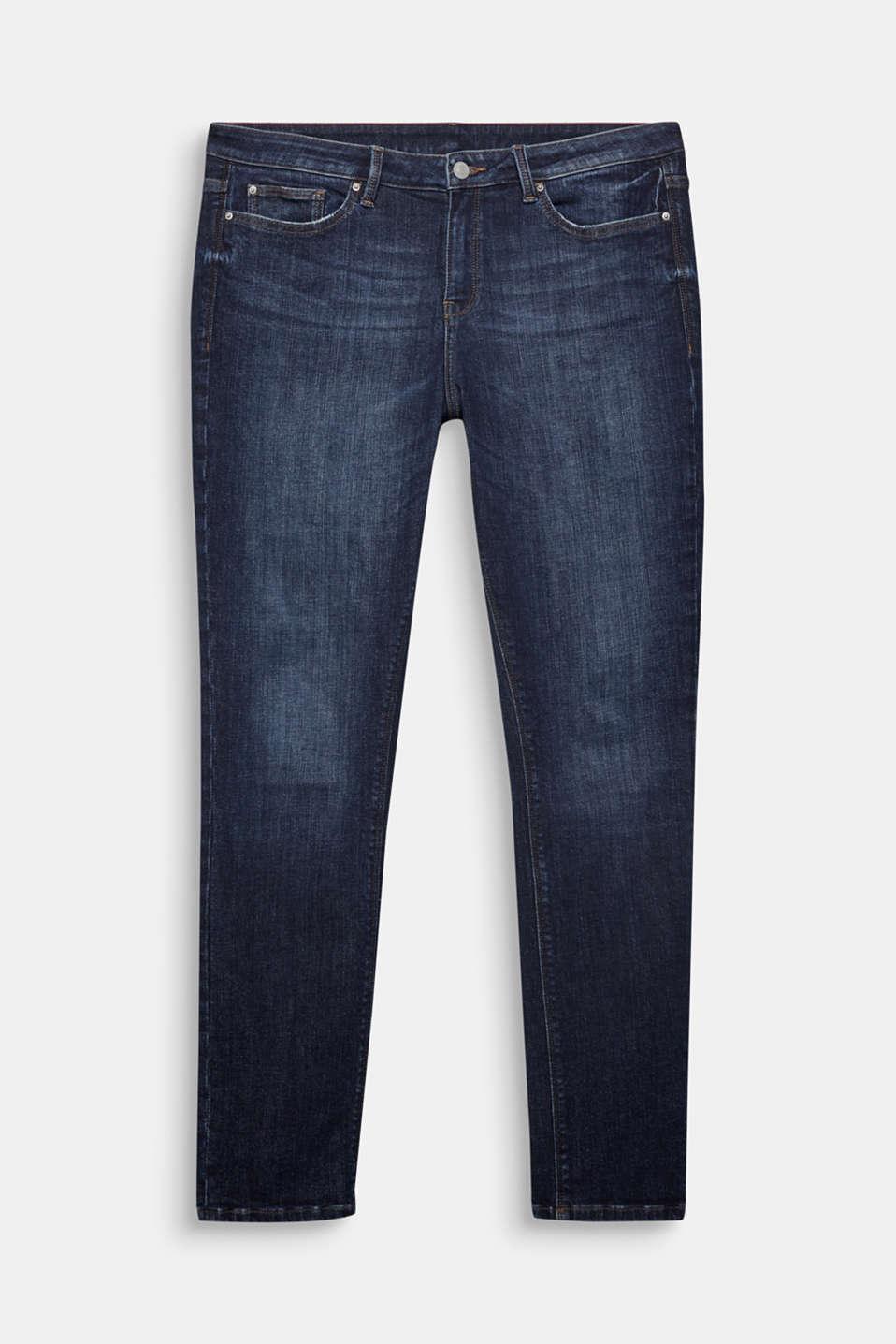 CURVY basic stretch jeans, BLUE DARK WASH, detail image number 7