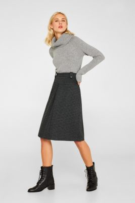 Stretch jersey skirt with a pleat, DARK TEAL GREEN, detail